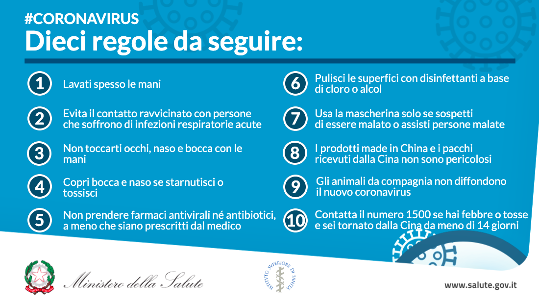 Coronavirus dieci regole da seguire Auser Piacenza
