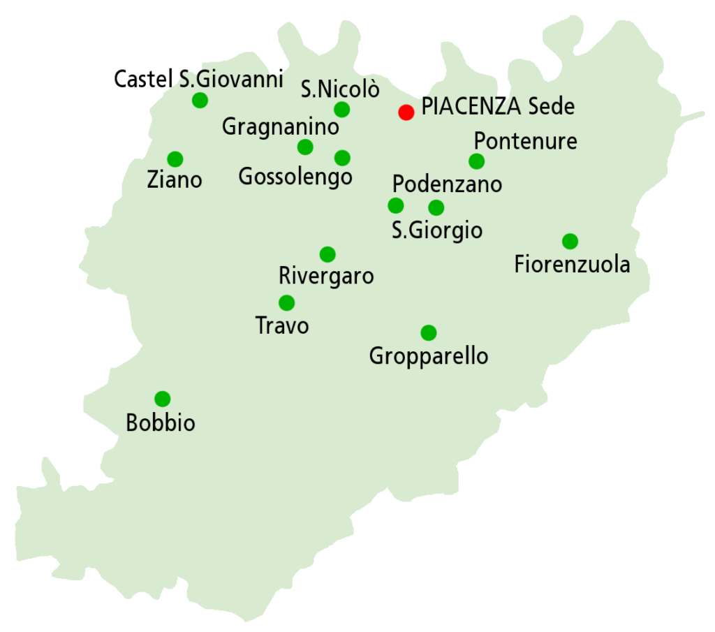 Mappa Circoli Auser nella provincia di Piacenza